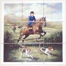 "Lady Fox Hunt Ceramic Tile Mural 9 pcs 4.25"" Kiln Fired Equestrian Horse Decor"
