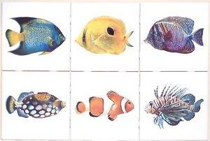 "Tropical Fish Ceramic Tile 6 of 4.25"" x 4.25"" Kiln fired Back Splash Tile Decor"