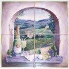 "Vineyard Window Ceramic Tiles Mural  12"" x 12"" Kiln fired Back Splash Mural"