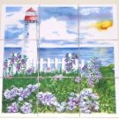 Closeout Light House Ceramic Tile Mural Sunset 9pc 4.25 Ocean Back splash Kiln Fired