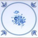 "Delft Blue Flower  Kiln Fired Decor 4.25"" White Ceramic Tile With Trim"