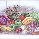 "Vegetable Ceramic Tile Mural Asparagus Corn Cabbage 12pcs 4.25"" Kiln fired"