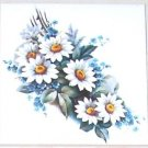 "Daisy & Blue Forget Me Not Flower Ceramic Tile 4.25"" x 4.25""  Kiln fired Decor"