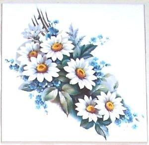 """Daisy & Blue Forget Me Not Flower Ceramic Tile 4.25"""" x 4.25""""  Kiln fired Decor"""
