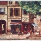 "Paris Cafe Ceramic Tile Mural 6 of 6"" Village Scene Kiln Fired Backsplash"
