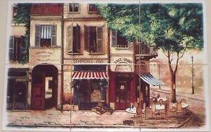 """Paris Cafe Ceramic Tile Mural 6 of 6"""" Village Scene Kiln Fired Backsplash"""