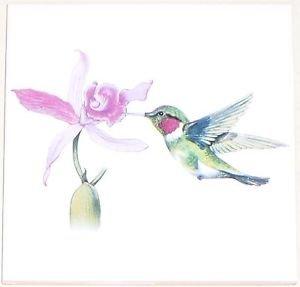 "Hummingbird Ceramic Tile with Orchid Flower 6""x 6"" Kiln Fired Decor Back Splash"