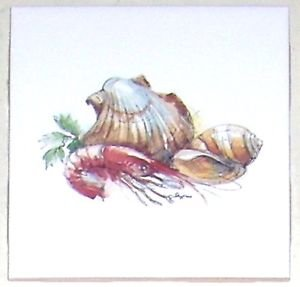 "CLOSEOUT Clam Shrimp Shell  Seafood or Underwater Theme 4.25"" Kiln Fired Ceramic Tile"