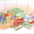 Vegetable w Pitcher & Fruit Kiln Fired Ceramic Tile 12p Mural Back Splash Grapes