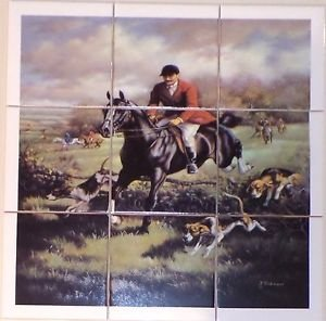 "Man Fox Hunt Ceramic Tile Mural 9 pcs 4.25"" Kiln Fired Equestrian Horse Decor"