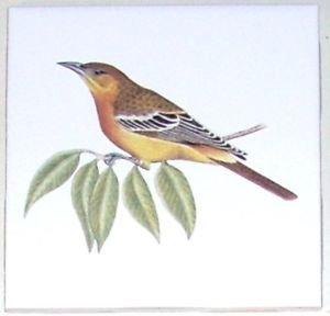"Brown Common Bird Ceramic Tile 4.25"" Kiln Fired Accent Back Splash"