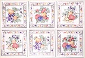 "Fruit Ceramic Tile Accents to  Mural 6""x 6"" Kiln Fired Back Splash Grapes Apples"