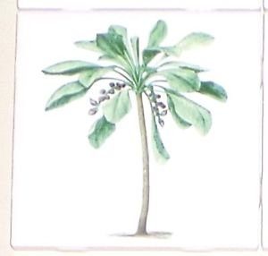 "Tropical Green Palm Trees Ceramic Tile 4.25"" x 4.25"" Kiln Fired Decor"