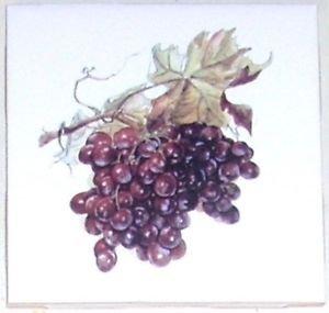 "Red Grape Ceramic Tile 4.25"" Kiln Fired Grapes Kiln Fired Grapes Wall Decor Closeout"