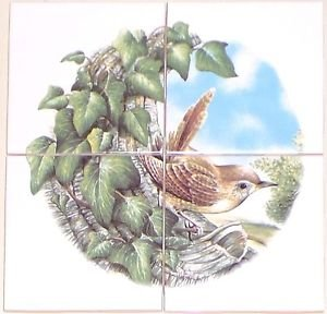 "CLOSEOUT Wren Bird Ceramic Tile Mural 4 pcs 4.25"" Kiln Fired Back Splash Decor"