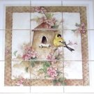 "Closeout American Goldfinch Bird Canary Ceramic Tile Mural Birdhouse 9/4.25"" Backsplash L"