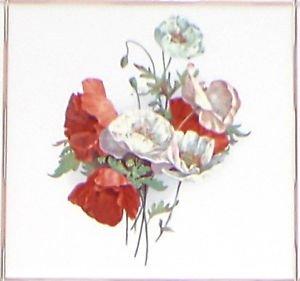 """Closeout Poppy Flower Ceramic Accent Tile 4.25"""" Flower Kiln Fired Back Splash Decor"""