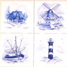 "Delft Blue Ceramic Tiles set of 4 of 4.25"" Light House Ship House Windmill"