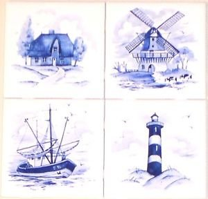 "Delft Blue Ceramic Tiles set of 4 of 4.25"" Light House Ship House Windmill  Nautical"
