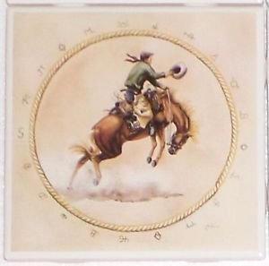 "Bronco Rider Ceramic Tile 4.25"" Horse Cowboy Kiln Fired Back Splash Accent Decor"