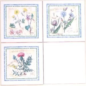 "Closeout Herb Ceramic Wall Tile Kiln Fired Back Splash set of 3 / 4.25"" Buttercup Thistle"