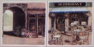 """Bistro Cafe Ceramics Tile Kiln Fired Back Splash Decor 6""""x 6"""" Set of 2"""