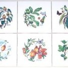 Closeout Butterfly Ceramic Tile Walnut Quince Passion Botanical  6pc Herb Kiln Fired Sale