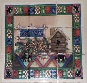 "BEAR Cabin Fever Ceramic Tile Mural Back Splash 9pcs 4.25"" Kiln Fired Biscuit"