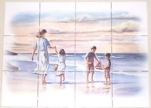 "At the Sea Shore Ceramic Tile Mural 12pcs 4.25"" Kiln Fired Backsplash"