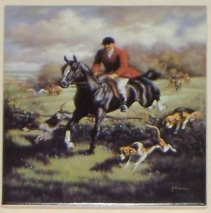 "Man Fox Hunt Equestrian Horse Ceramic Tile 6"" Kiln Fired Decor Back Splash"