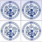 "Blue Onion Ceramic Tile set of 4 of 4.25"" x 4.25"" Kiln Fired Back Splash Decor"