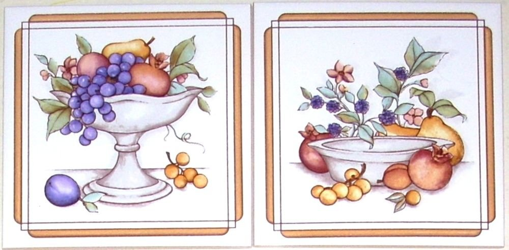 """Closeout Pretty Fruit Ceramic Tile Accents Grapes 2pcs 6"""" x 6"""" Kiln fired to match mural"""