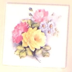 """Closeout Yellow and Pink Rose Flower Ceramic Accent Tile 4.25"""" x 4.25"""" Kiln Fired Decor"""