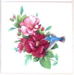 "Blue Hummingbird Pink Flower 4.25"" Kiln Fired Ceramic Tile Backsplash"