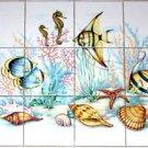 "Under the Sea Tropical Fish Ceramic Tile Mural 12pcs 4.25"" Kiln Fired Backsplash"