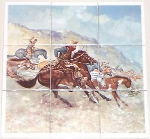 "The Rustlers 9pc 4.25"" x 4.25"" Ceramic Tile Backsplash Kiln Fired Decor Western"