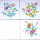 "Closeout Pansy Basket Flower Ceramic Tile Accents Set of 3 pc 4.25"" Kiln Fired Decor"