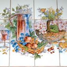 Closeout Wine Ceramic Tile Mural Grapes Back splash Kiln Fired Tiles 4pcs + 12pcs 4.25""