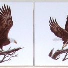 "Closeout Bald Eagle Tile 4.25"" Wild Bird Set of 2 tiles Kiln Fired Decor"
