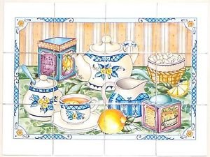 "Closeout TEA SET W/BLUE CERAMIC TILE MURAL BACK SPLASH 12PCS 4.25"" KILN FIRED"