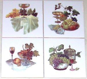 "Closeout Grape Ceramic Tile Mural Glasses Wine 4pcs Grapes 4.25"" Kiln Fired Accent Tile"