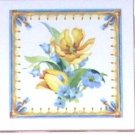"Closeout Lovely Yellow Tulips Ceramic Tile Accents set of 3  4.25"" Kiln fired Back Splash"