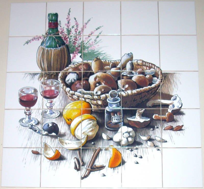 "Wine Ceramic Tile Mural Mushrooms Basket 25pcs 4.25"" Back splash Kiln Fired"