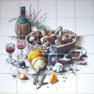 "Wine Ceramic Tile Mural Mushrooms Basket 25pcs 4.25"" Back splash Kiln Fired"