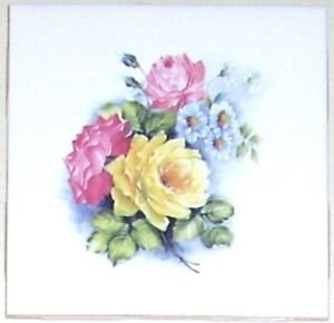 "Closeout Yellow Rose Ceramic Tile 4.25"" Kiln Fired Pink Flower Decor for Kitchen Bath"