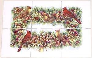 "Cardinal Song Bird Ceramic Tile Mural 6pcs 4.25""   Kiln Fired Decor"