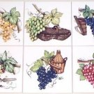 "Grape Wine Making Ceramic Tile Mural Accents 6 of 6""  Kiln Fired Back Splash"