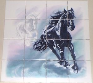 "Horse Ceramic Tile Mural 16pcs of 4.25"" Kiln Fired Ceramic Tiles Black Mustang"