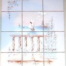 "Closeout Peaceful Flower and Water Ceramic Tile Mural 12pcs 4.25"" Kiln Fired Decor"