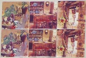 """Antique Kitchen Ceramic Tile Accent Back Splash 6pcs 4.25"""" Kiln Fired BISCUIT"""